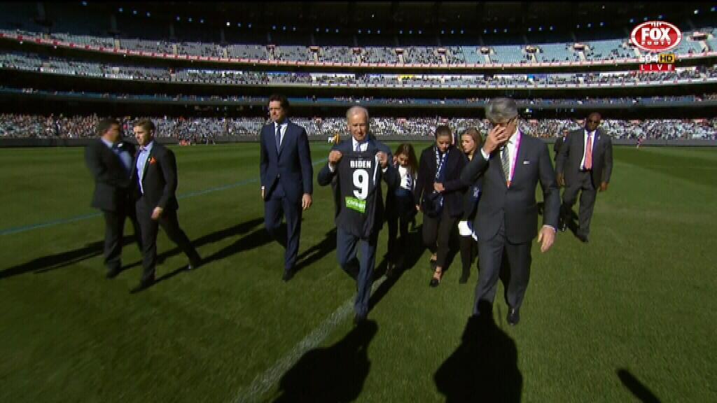 Joe Biden backs Carlton at the MCG