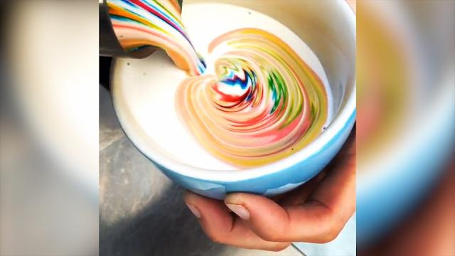 Brisbane barista's internet-famous coffee art will have you craving rainbows