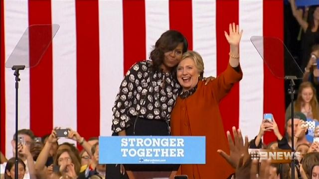 VIDEO: Hillary Clinton appears alongside Michelle Obama at North Carolina rally