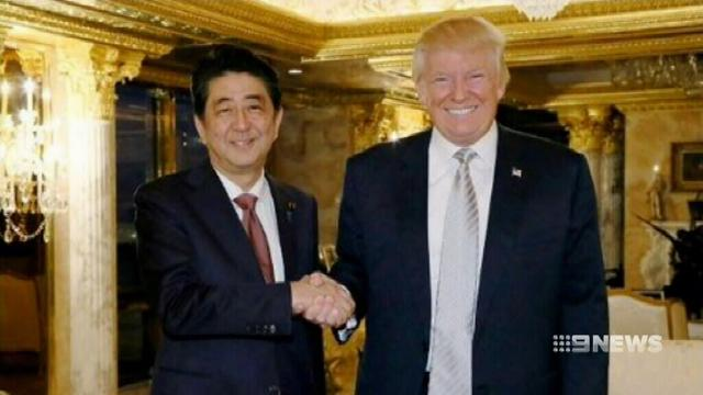 VIDEO: Donald Trump's first meeting with foreign leader