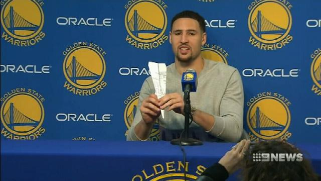 Warriors' Thompson ends presser by throwing paper airplane at media