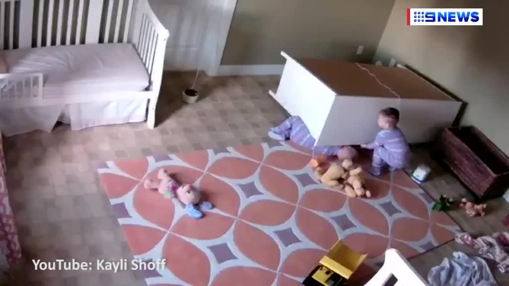Two-year-old boy saves twin brother after chest of drawers almost crushes him