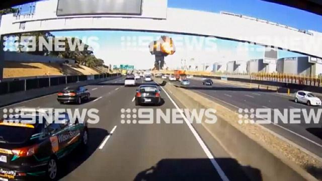 Dashcam vision captures moment plane crashes and fireball erupts from Melbourne DFO