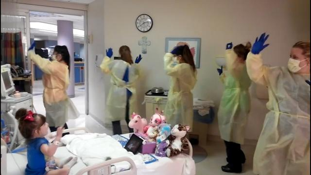 Little girl has hokey pokey party in her hospital room