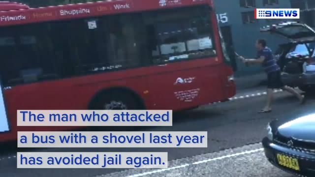 Road rage attacker who smashed shovel into Sydney bus avoids jail again