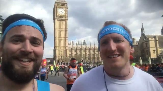 Suicidal man and stranger who helped him off bridge run together at London Marathon