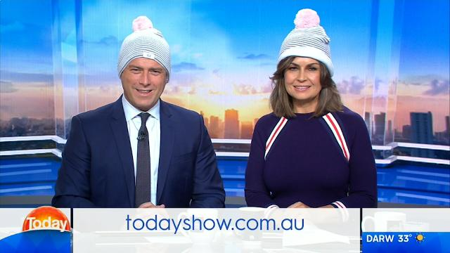 Karl and Lisa show their support for the 'Beanie for Brain Cancer' campaign