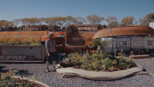 Artist Mary Mattingly creates a floating food garden