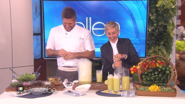 Curtis Stone smokes cucumbers with Ellen