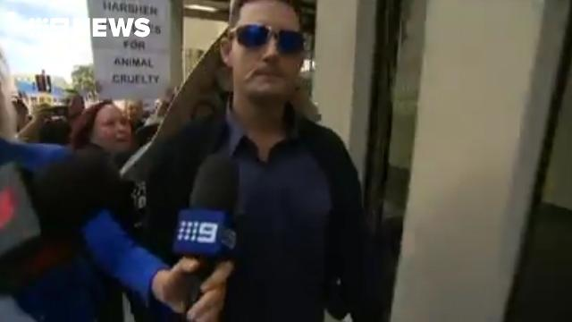 Labrador killer chased by angry animal activists outside Perth court