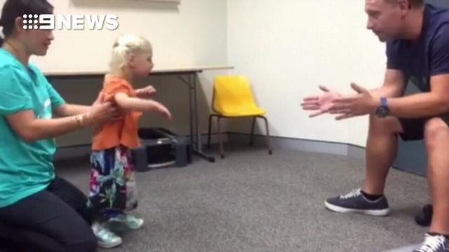 Toddler with cerebral palsy takes first steps wearing 'magic shoes'