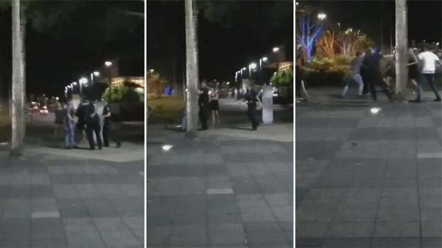 Cairns police offer bashed after wild brawl