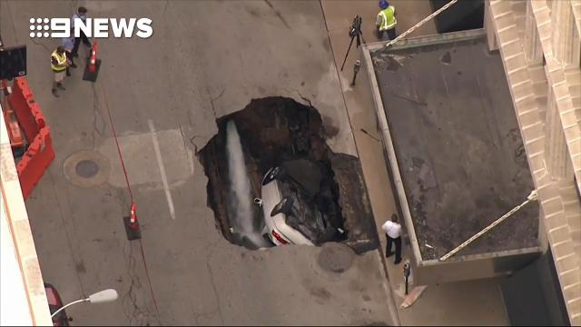 Sinkhole swallows vehicle in St. Louis, Missouri