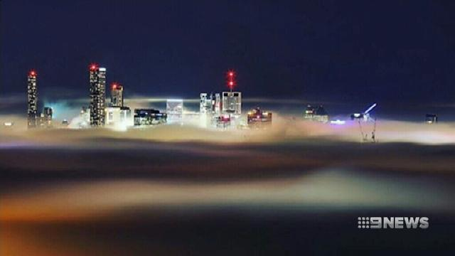 Unprecedented fog in Brisbane forces planes to be grounded