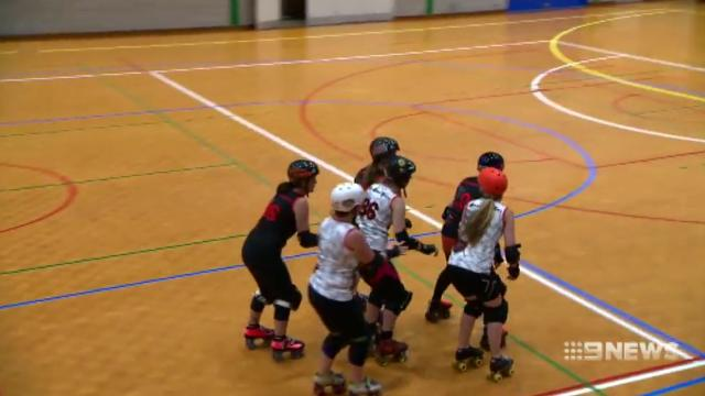 Roller derby team showcase their skills in front of Olympic committee