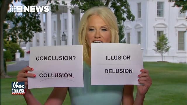 Kellyanne Conway uses flashcards for Russian Federation talking points on Fox News