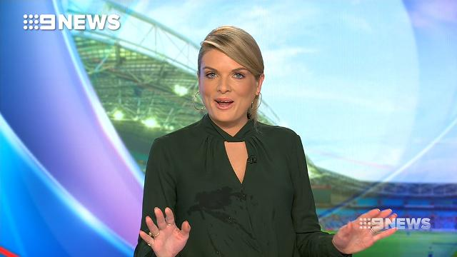 9NEWS presenter Erin Molan has fallen off her chair during an on-air sports report.