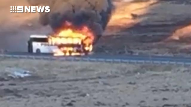 Bus carrying skiers from Perisher snowfields catches fire