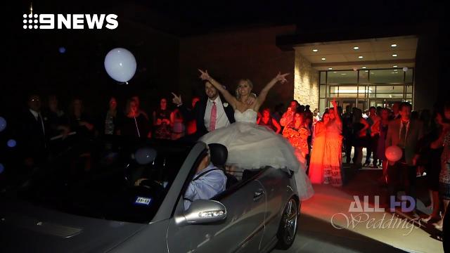 Newlyweds thrown from car in unforgettable wedding exit