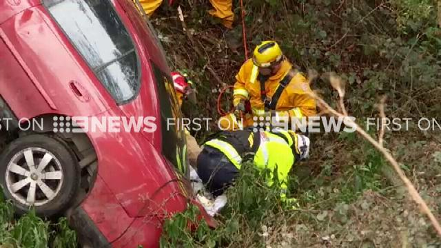 Driver plunges 100m off cliff and spends night trapped