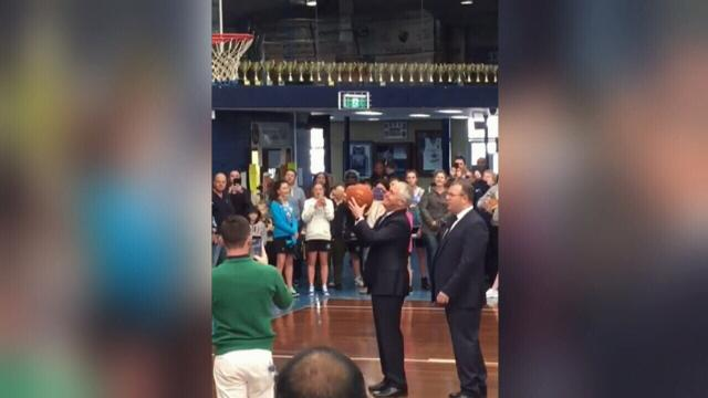 Malcolm Turnbull Tries To Shoot Some Hoops And Fails Miserably