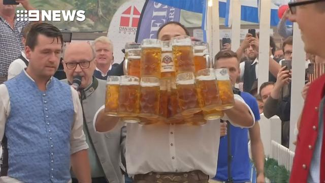 40m beer carrying world record broken with 29 stein effort in Germany