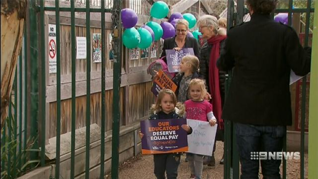 Thousands of childcare workers in Melbourne strike for better pay