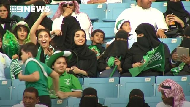 Saudi women and men attend public celebration together for first time